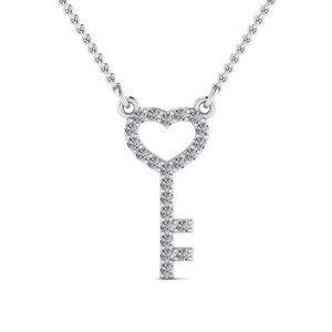 2.30 Ct round cut diamonds KEY HEART pendant neckl